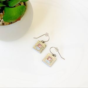 Vintage M4M Silver Square Minimalist Drop Earrings